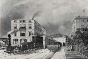 Der erste Potsdamer Bahnhof, Gleisseite, links das Empfangsgebäude - C Schulin - steel engraving by C Schulin